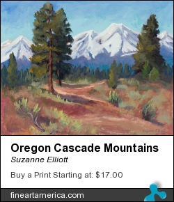 Oregon Cascade Mountains by Suzanne Elliott - Painting - Oil On Canvas