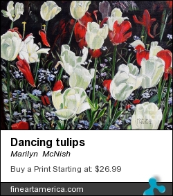 Dancing Tulips by Marilyn  McNish - Painting - Acrylic On Canvas