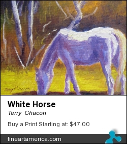 White Horse by Terry  Chacon - Painting - Oil On Canvas