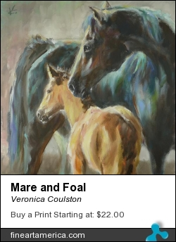 Mare And Foal by Veronica Coulston - Painting - Oil On Canvas