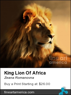 King Lion Of Africa by Zeana Romanovna - Painting - Painting - Digital Freehand Cintiq 24hd