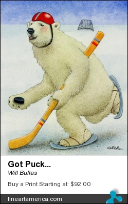 Got Puck... by Will Bullas - Painting - Watercolor.
