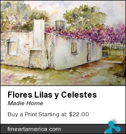 Flores Lilas Y Celestes by Madie Horne - Painting - Watercolors