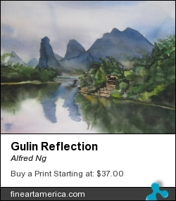 Gulin Reflection by Alfred Ng - Painting - Watercolor On Paper