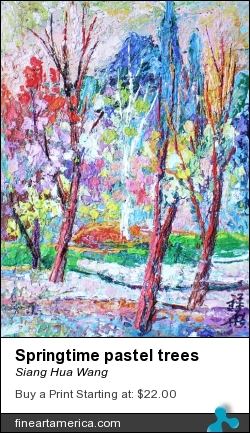 Springtime Pastel Trees by Siang Hua Wang - Painting - Oil On Canvas