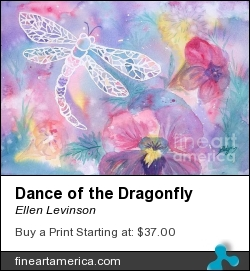 Dance Of The Dragonfly by Ellen Levinson - Painting - Watercolor