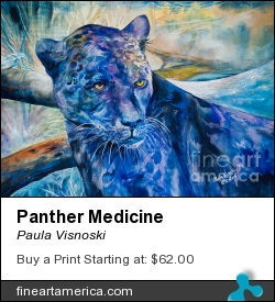 Panther Medicine by Paula Visnoski - Painting - Watercolor On Aches 300lb.paper