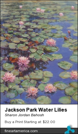 Jackson Park Water Lilies by Sharon Jordan Bahosh - Painting - Oils On Canvas
