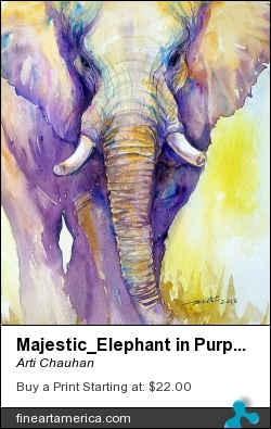 Majestic_elephant In Purple by Arti Chauhan - Painting - Watercolour On Paper