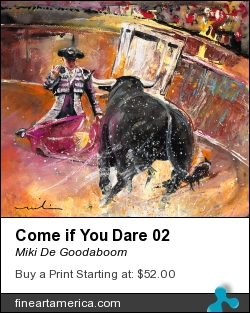 Come If You Dare 02 by Miki De Goodaboom - Painting - Gouache