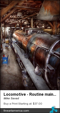 Locomotive - Routine Maintenance by Mike Savad - Photograph - Hdr Photography