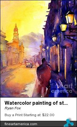 Watercolor Painting Of Street And Church Morelia Mexico by Ryan Fox - Painting - Watercolor