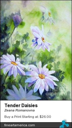 Tender Daisies by Zeana Romanovna - Painting - Mixed Mediums Painting