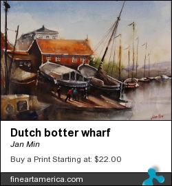 Dutch Botter Wharf by Jan Min - Painting - Aquarel