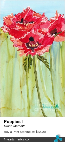 Poppies I by Diane Marcotte - Painting - Alcohol Ink On Yupo