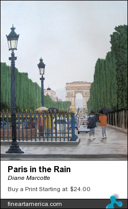 Paris In The Rain by Diane Marcotte - Painting - Watercolour