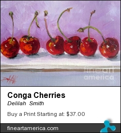 Conga Cherries by Delilah  Smith - Painting - Oil Painting On Canvas Mounted On A Panel