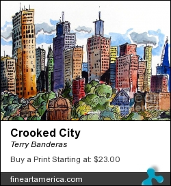 Crooked City by Terry Banderas - Painting - Watercolor On Paper.
