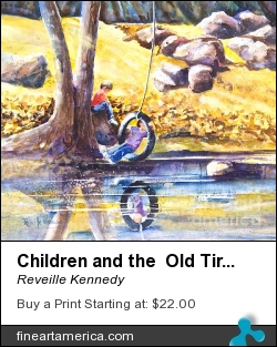 Children And The Old Tire Swing by Reveille Kennedy - Painting - Watercolor On Arches 140 Lb Paper