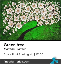 Green Tree by Mariana Stauffer - Painting - Mixed Media Impasto