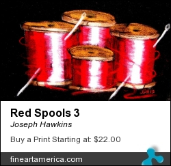 Red Spools 3 by Joseph Hawkins - Drawing