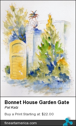 Bonnet House Garden Gate by Pat Katz - Painting - Watercolor & Ink