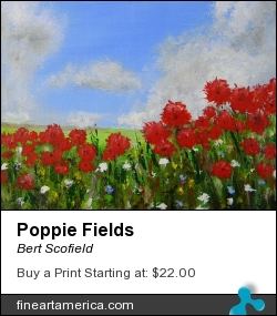 Poppie Fields by Bert Scofield - Painting - Acrylic On Canvas Board