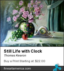 Still Life With Clock by Thomas Kearon - Painting - Acrylic On Linen