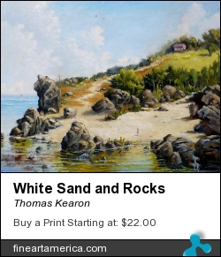White Sand And Rocks by Thomas Kearon - Painting - Oil On Linen