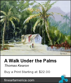 A Walk Under The Palms by Thomas Kearon - Painting - Acrylic On Paper