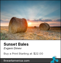 Sunset Bales by Evgeni Dinev - Photograph