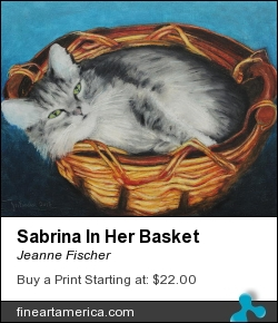 Sabrina In Her Basket by Jeanne Fischer - Painting - Oil Pastel And Colored Pencil On Cradled Hard Board