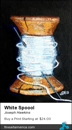 White Spoool by Joseph Hawkins - Pastel - Pastel On Black Paper