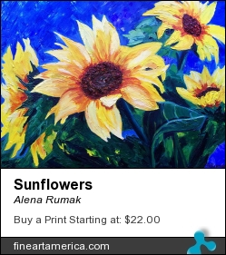 Sunflowers by Alena Rumak - Painting - Oil On Canvas