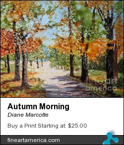 Autumn Morning by Diane Marcotte - Painting - Alcohol Ink On Yupo