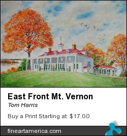 East Front Mt. Vernon by Tom Harris - Painting - Watercolor