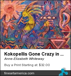 Kokopellis Gone Crazy In The Noonday Sun by Anne-Elizabeth Whiteway - Mixed Media - Acrylics And Pens