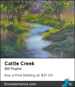 Cattle Creek by Bill Puglisi - Pastel - Oil On Canvas