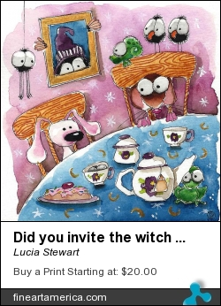 Did You Invite The Witch To Tea by Lucia Stewart - Painting - Watercolor And Pen