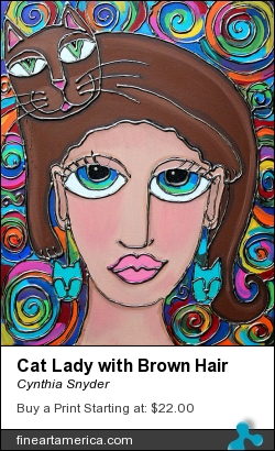 Cat Lady With Brown Hair by Cynthia Snyder - Painting - Acrylic Mixed Media On Canvas