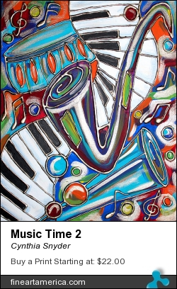 Music Time 2 by Cynthia Snyder - Painting - Acrylic Mixed Media On Canvas
