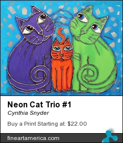 Neon Cat Trio #1 by Cynthia Snyder - Painting - Acrylic Mixed Media On Canvas
