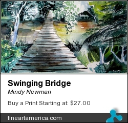 Swinging Bridge by Mindy Newman - Painting - Watercolor On Archival Paper Or Canvas