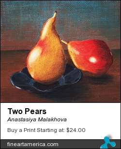 Two Pears by Anastasiya Malakhova - colored pencils on paper