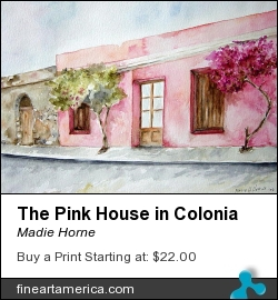 The Pink House In Colonia by Madie Horne - Painting - Watercolors