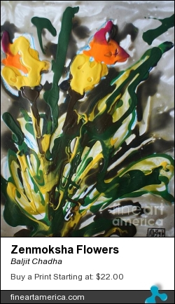 Zenmoksha Flowers by Baljit Chadha - Painting - Mixmedia On Paper