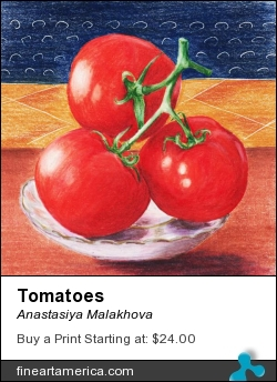 Tomatoes by Anastasiya Malakhova - colored pencils on paper