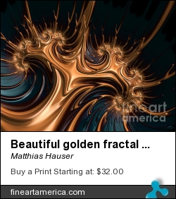 Beautiful Golden Fractal Artwork by Matthias Hauser - Digital Art - Fractal