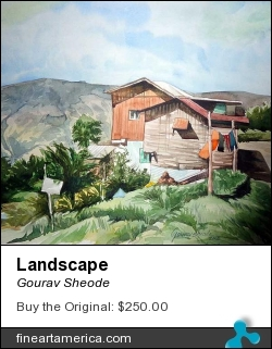 Landscape by Gourav Sheode - Painting - Watercolor