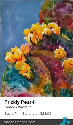 Prickly Pear-il by Renee Chastant - Painting - Watercolor On Paper